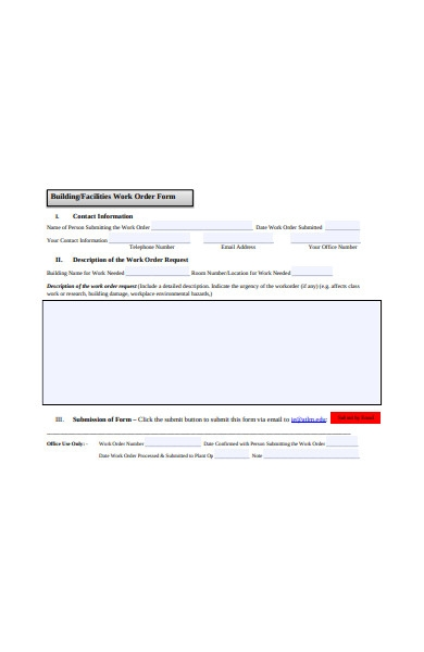 building work order form
