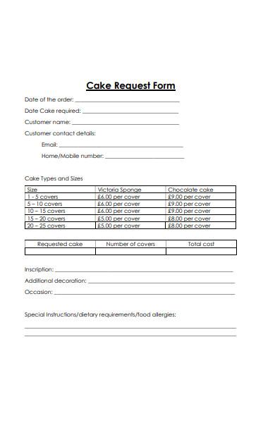 cake order request form