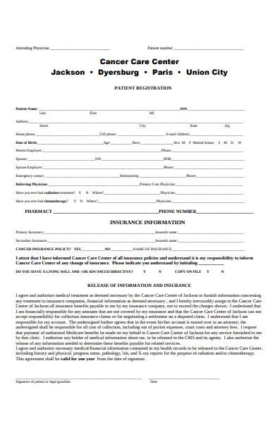 cancer patient registration form