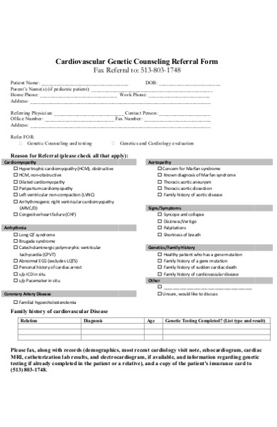 cardiovascular genetic counselling referral form