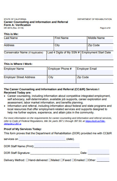 career counseling referral form
