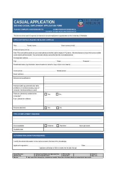 casual employment application form
