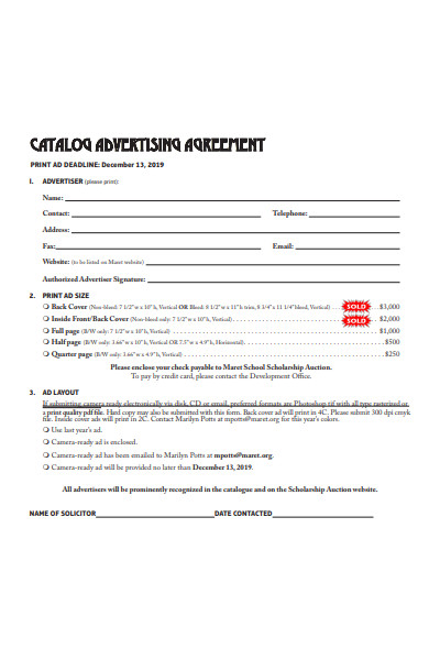 catalog advertising agreement form
