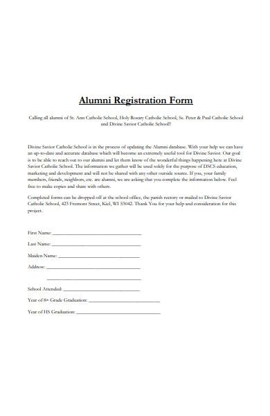 catholic school alumni registration form