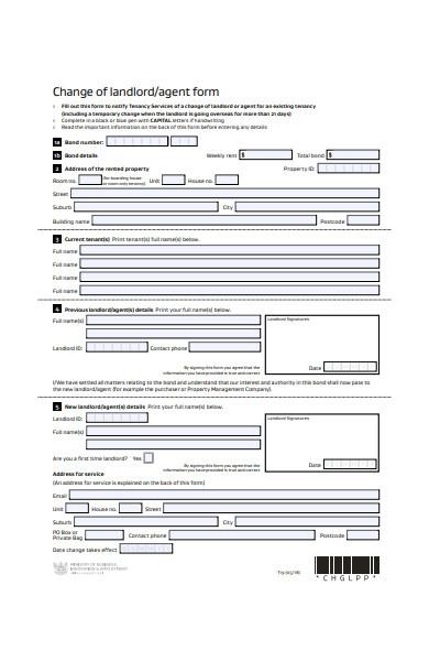change of landlord form