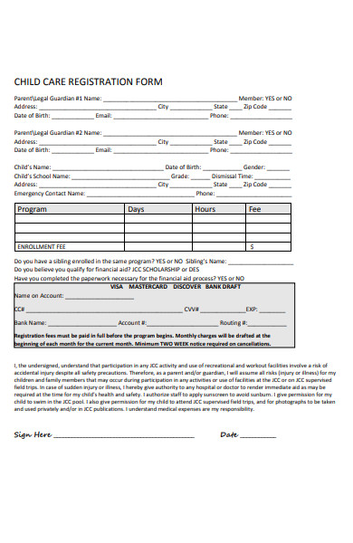 childcare contract registration form