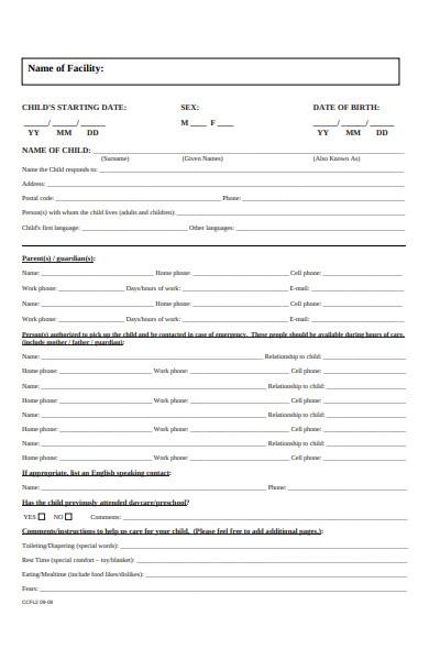 childcare facilities registration form