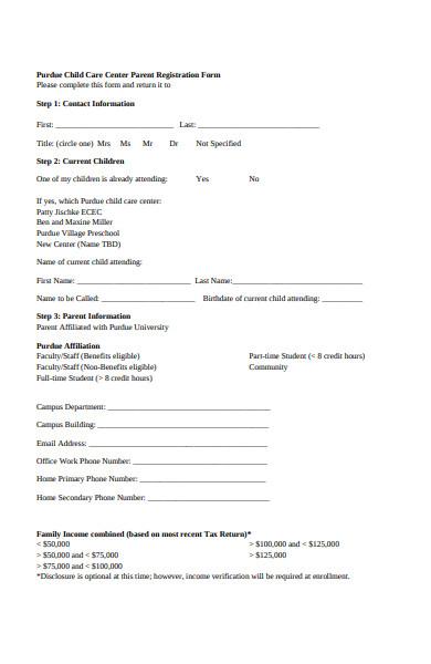 childcare parents registration form