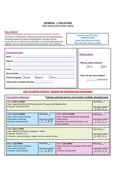 childcare pre registration form