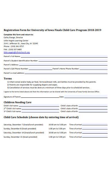 childcare program registration form