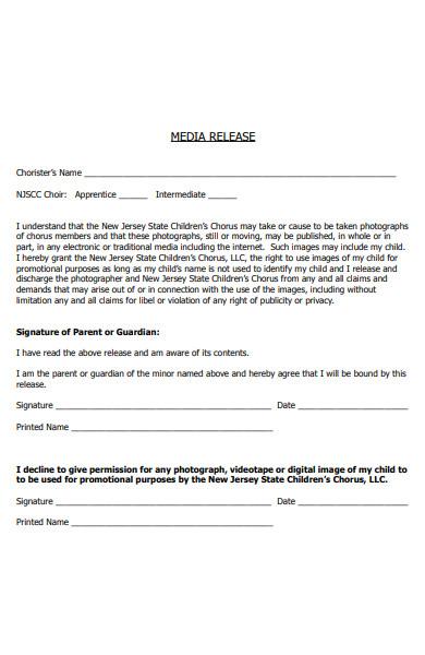 children media release form