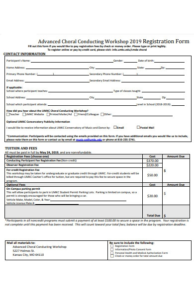 choral conducting workshop registration form