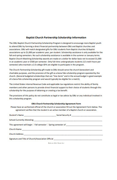 church partnership agreement form