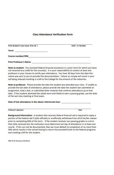 class attendance verification form