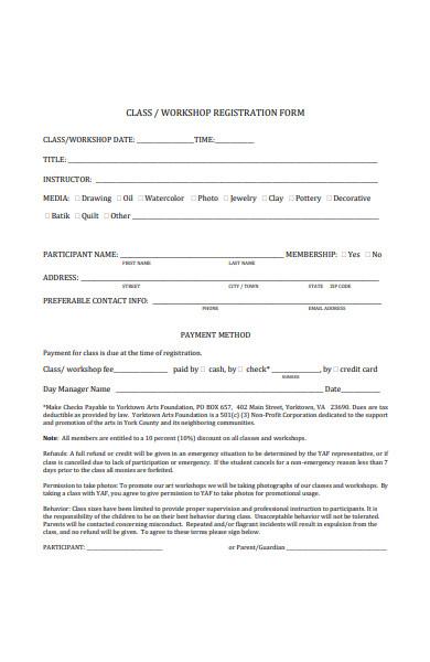 class workshop registration form