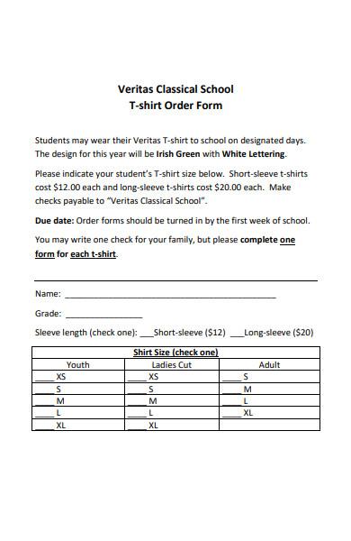 classical school t shirt order form