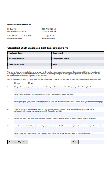 classified staff employee self evaluation form