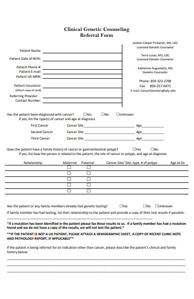 clinical genetic counseling referral form