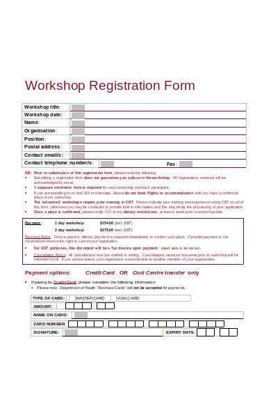 clinical workshop registration form