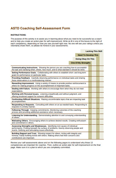 coaching self evaluation form