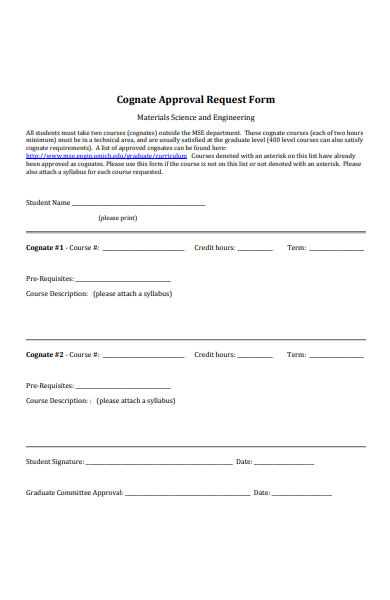 cognate approval request form