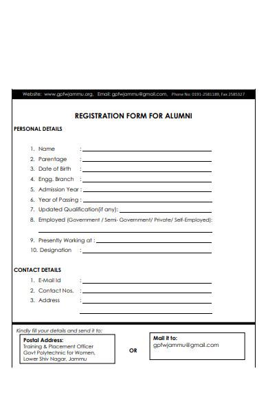 college alumni registration form