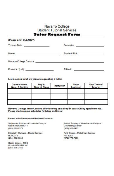college tutor request form