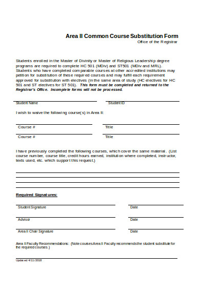 common course substitution form