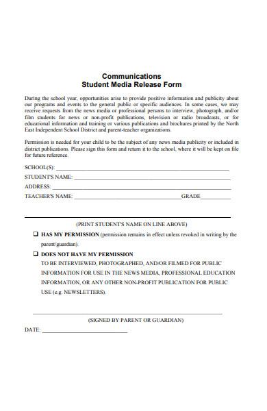 communication student media release form