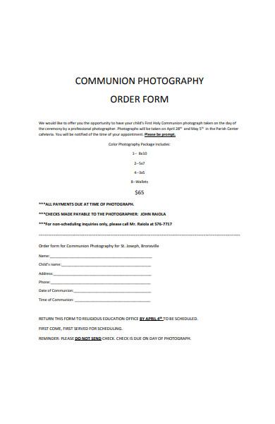 communion photograph order form