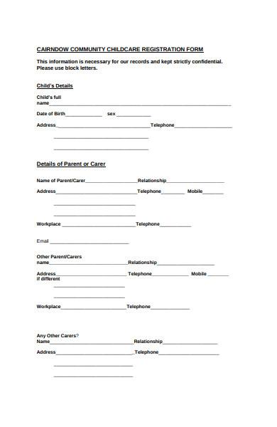 community childcare registration form