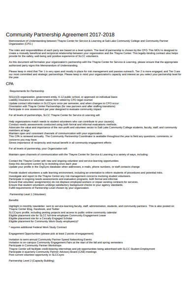 community partnership agreement form