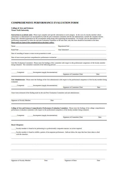 comprehensive performance evaluation form