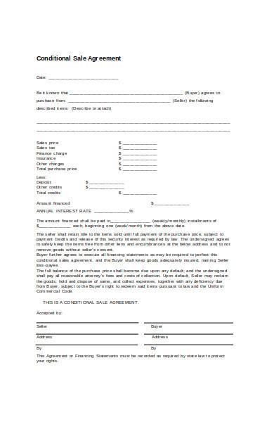 conditional sale form