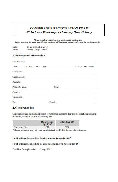 conference workshop registration form in pdf