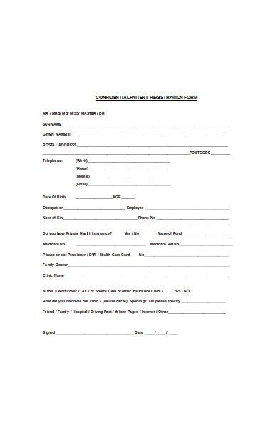 confidential patient registration form