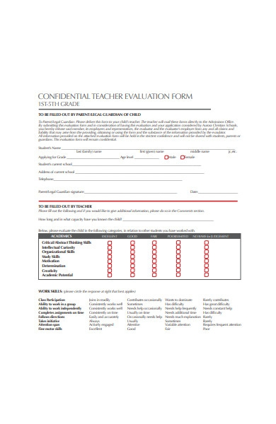 confidential teacher evaluation form sample