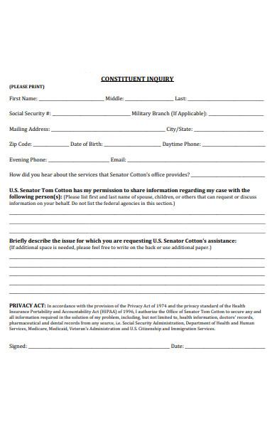 constituent inquiry form