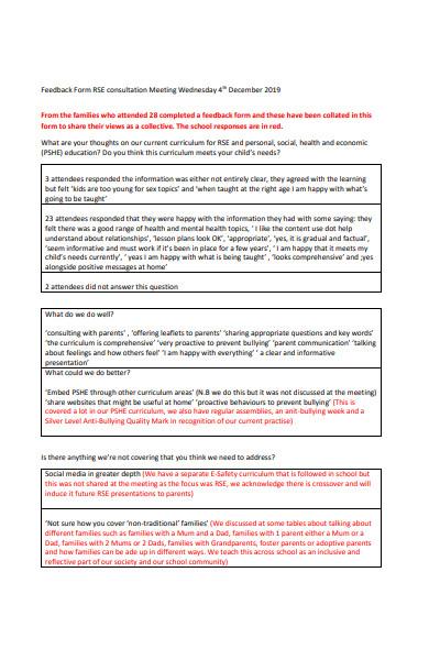 consultation meeting feedback form