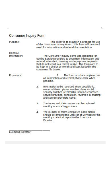 consumer inquiry form