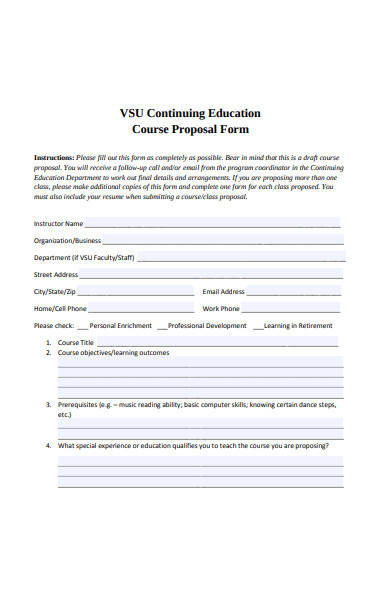 continuing education course proposal form