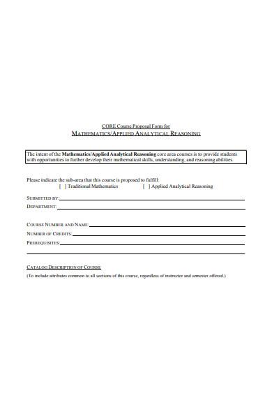 core course proposal form