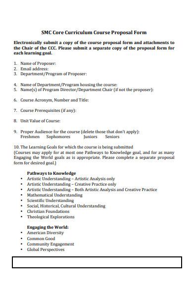 core curriculum course proposal form