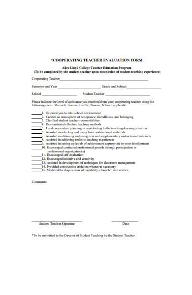 corporate teacher evaluation form