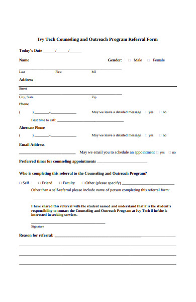counseling program referral form