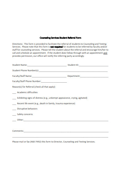 counseling services student referral form