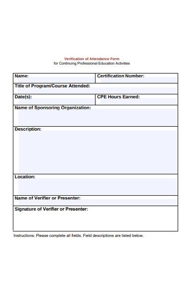 course attendance verification form