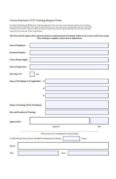 course instructor training request form