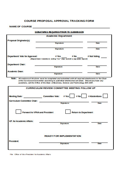 course proposal approval tracking form
