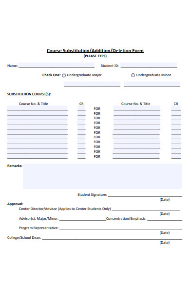 course substitution deletion form